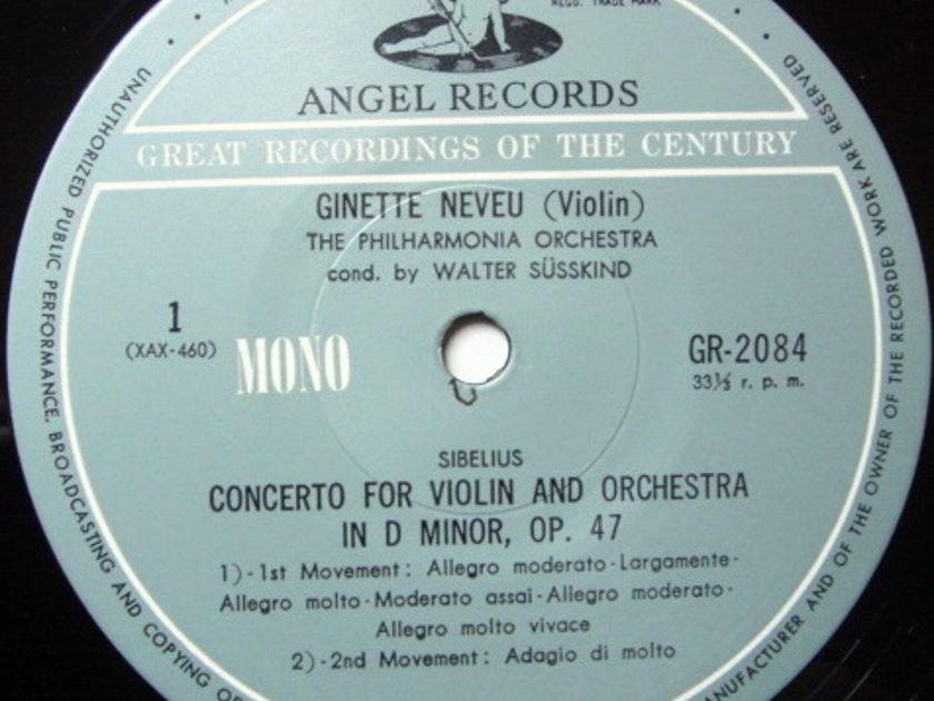 ★Audiophile★ Toshiba EMI / GINETTE NEVUE, - Sibelius Violin Concerto, MINT!