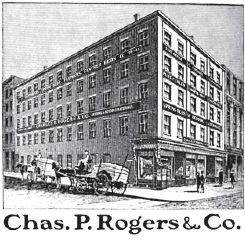 Charles P. Rogers (Real Bed) early mattress factory. Illustration