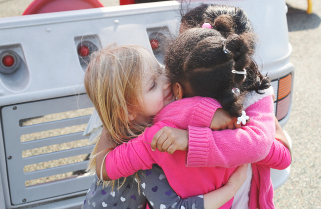 Image of little girls hugging