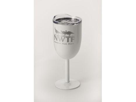 White Stainless Steel Wine Glass w/ NWTF Logo