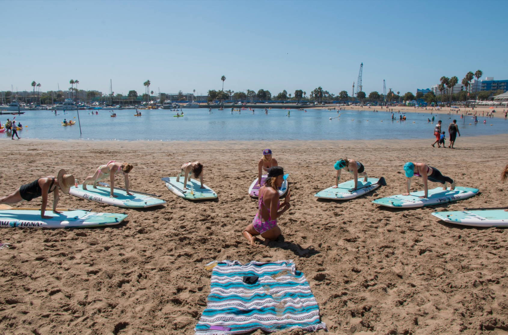 Teaching Yoga Sup Class in Venice beach