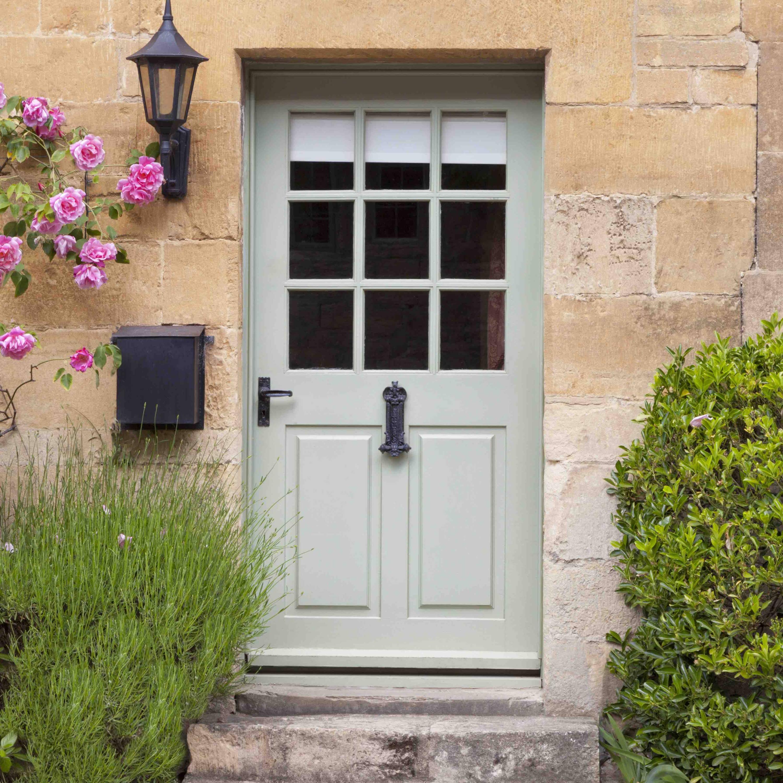 Pretty front door with flowers