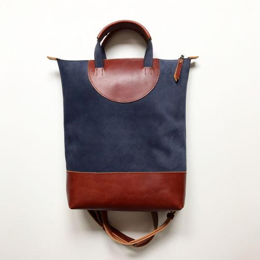 Кожаный рюкзак-сумка Flat Handles Blue Suede/Cognac