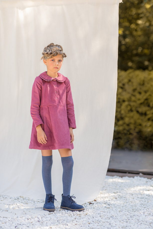Платье для девочки вельветовое (цвет - пыльный розовый)