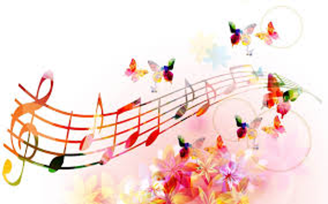 Colorful music notes are displayed on a music staff surrounded by rainbow butterflies and flowers