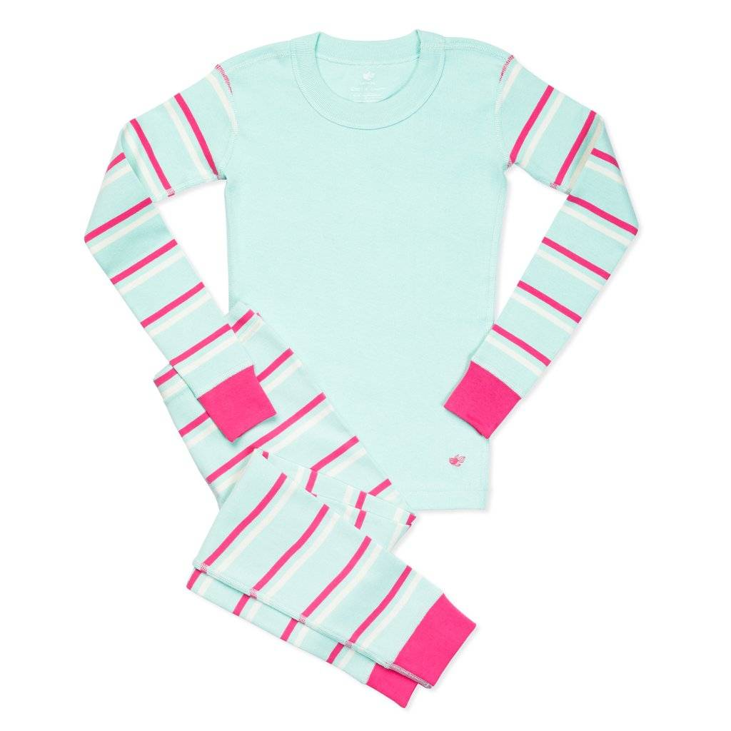 Maya Girls Organic Cotton Pajamas Pink Stripe