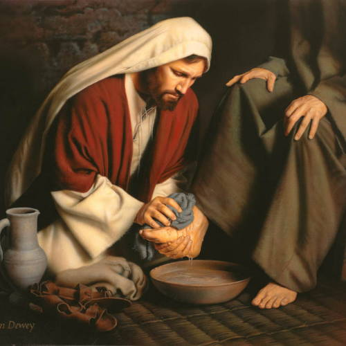 Painting of Jesus washing the disciples' feet.