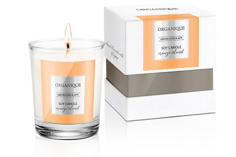 Natural Soy Candle - Orange Island Scent 180g in glass and elegant box ORganique cosmetics