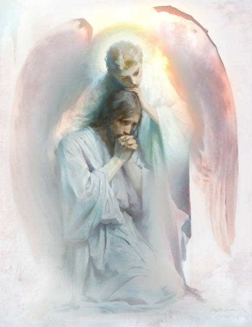 Watercolor painting of a angel comforting Jesus who is suffering in the garden.