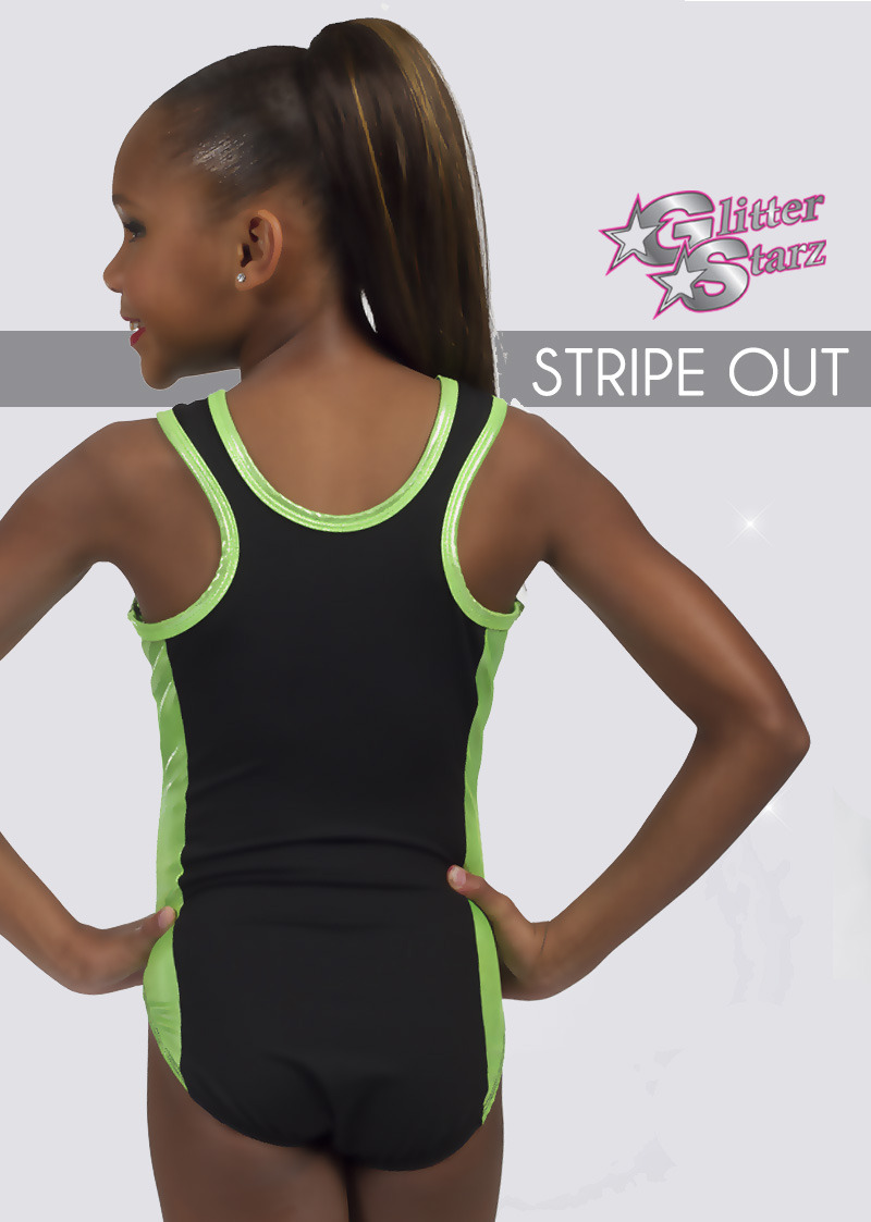 glitterstarz stripe out custom bling leotard black green metallic for gymnastics