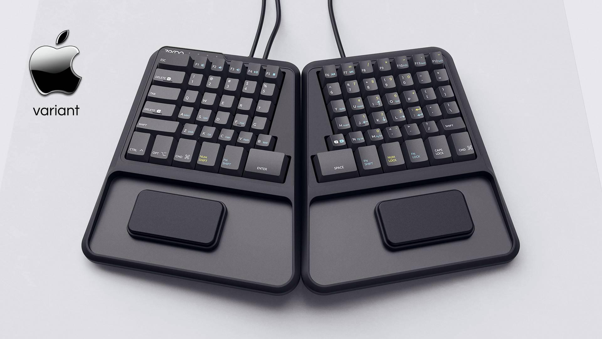 Zergotech Freedom top hero view mechanical keyboard ergonomic