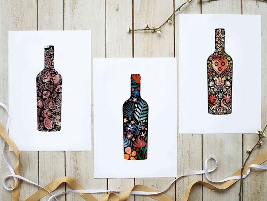 Набор из трех открыток с вином, 10х15
