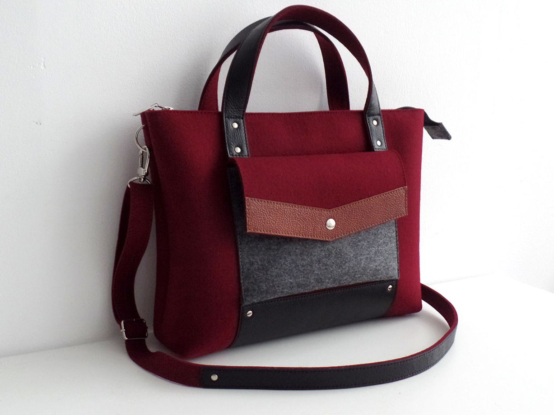 Сумка-портфель из фетра и натуральной кожи винная