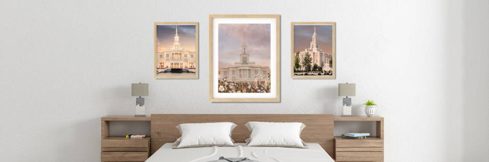 Environment shot showing three photos of the Payson Utah Temple.