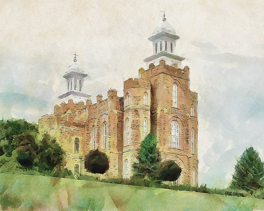Painting of Logan Temple standing strong on a hill.