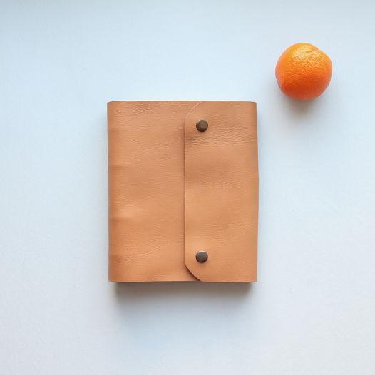 Кожаный блокнот на кольцах А5 светло-коричневый