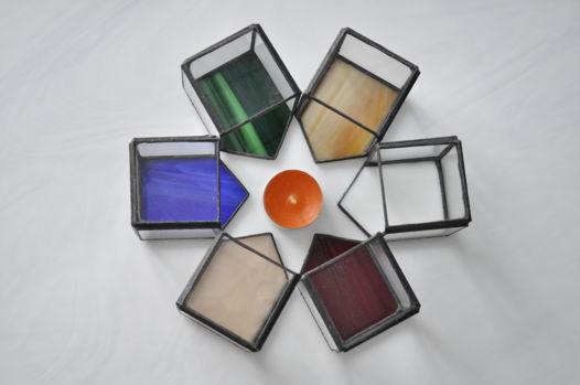Подвечник ДОМИК с цветным стеклом