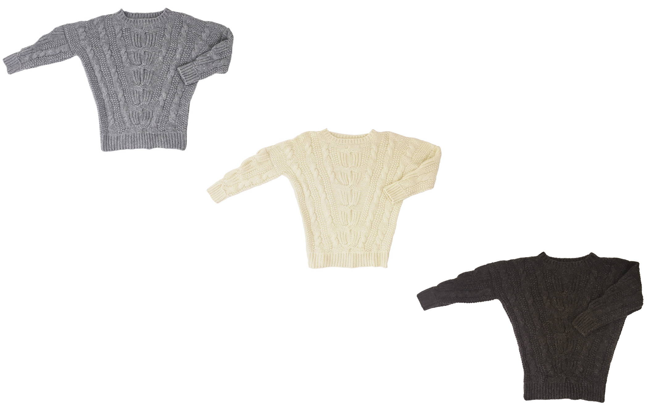 Display of alpaca sarah cableknit sweater in light grey, cream and chocolate brown - Stick & Ball