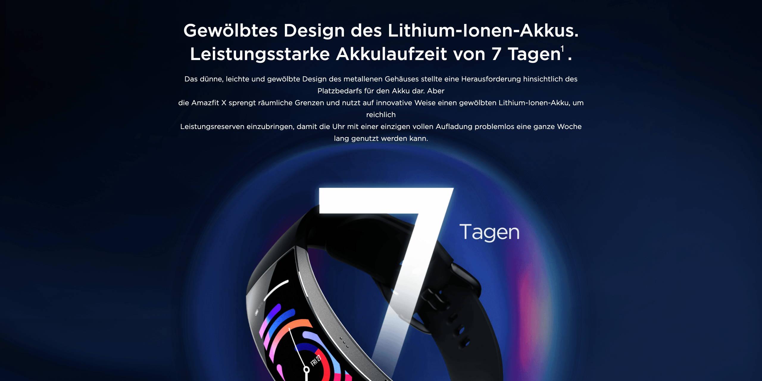 Amazfit X - Gewölbtes Design des Lithium-Ionen-Akkus. Leistungsstarke Akkulaufzeit von 7 Tagen.
