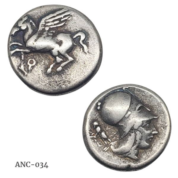 Ancient Pegasus silver coin from Corinth.  Set in 18kt gold.