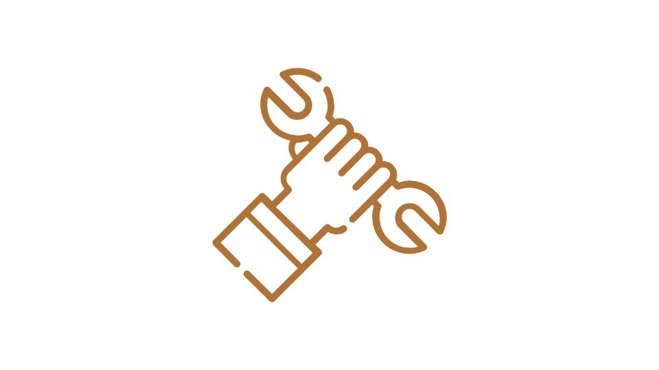 Orange image of a hand with tools - icon style