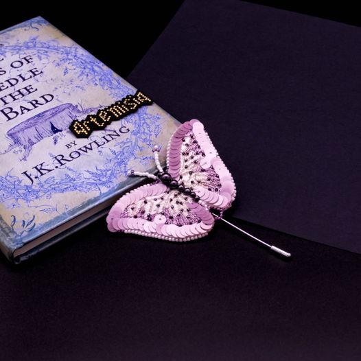 Брошь бабочка Lavender star shine