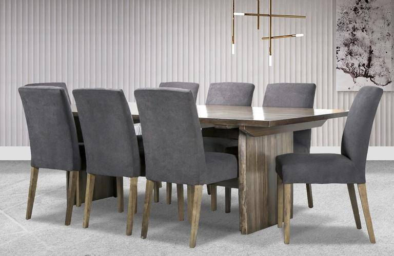 9 piece dining suite with fabric chairs