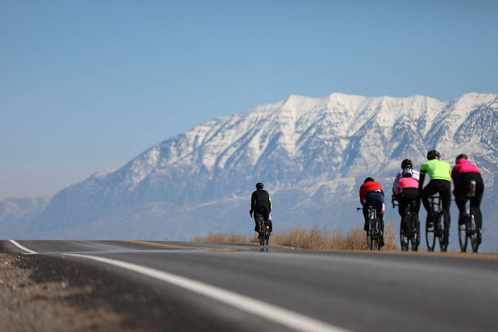 bikers with mountains in the background