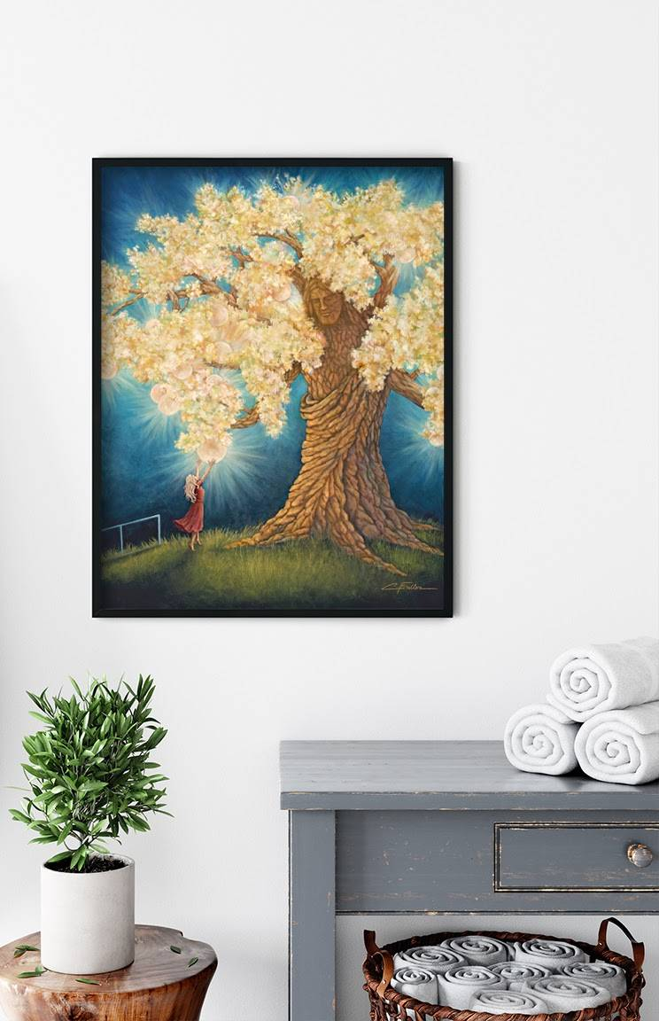 LDS art painting of a girl reaching up to the  Tree of Life placed above laundry area.