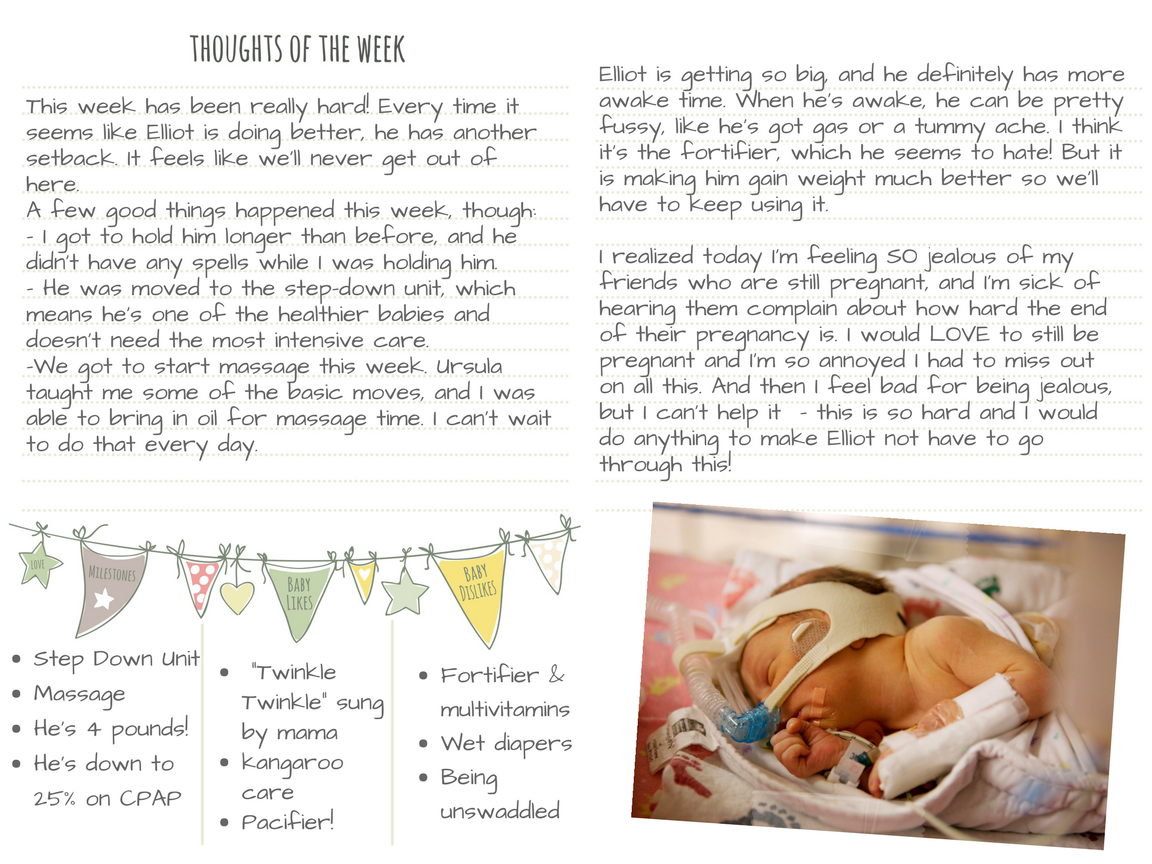 sample of how to use nicu journal to write thoughts of the week, feelings, keep photo