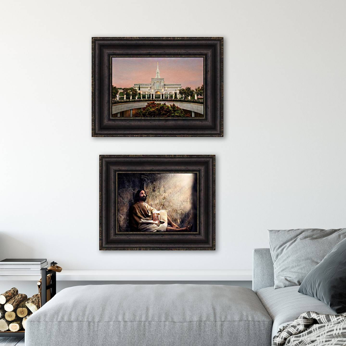 Environment shot of two LDS art paintings hung on a bedroom wall.