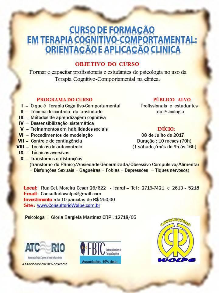 CURSO DE FORMAÇÃO EM TERAPIA COGNITIVO-COMPORTAMENTAL,ORIENTAÇÃO E APLICAÇÃO CLÍNICA