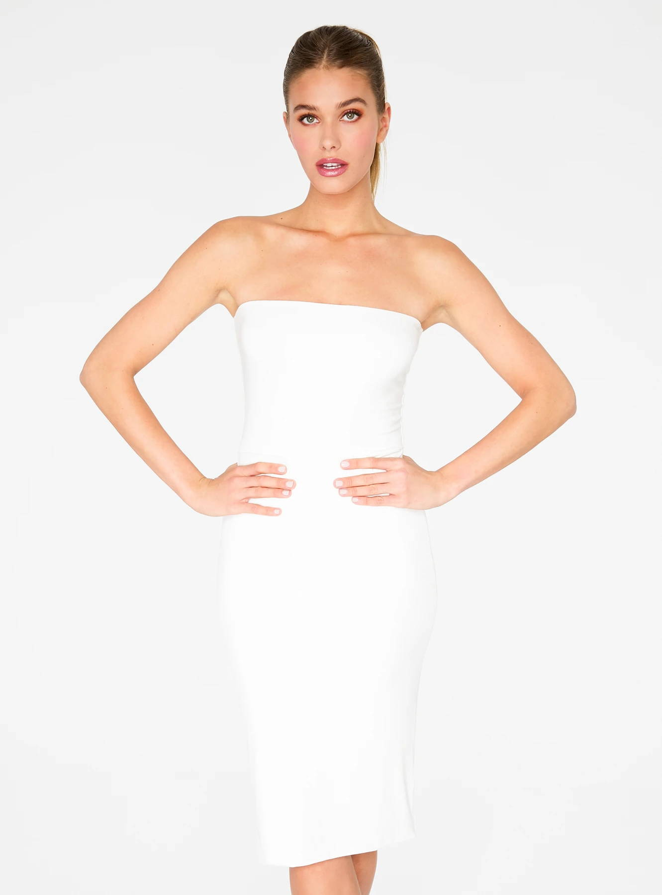 HeyYou Basic Creme Strapless Midi Bodycon Dress