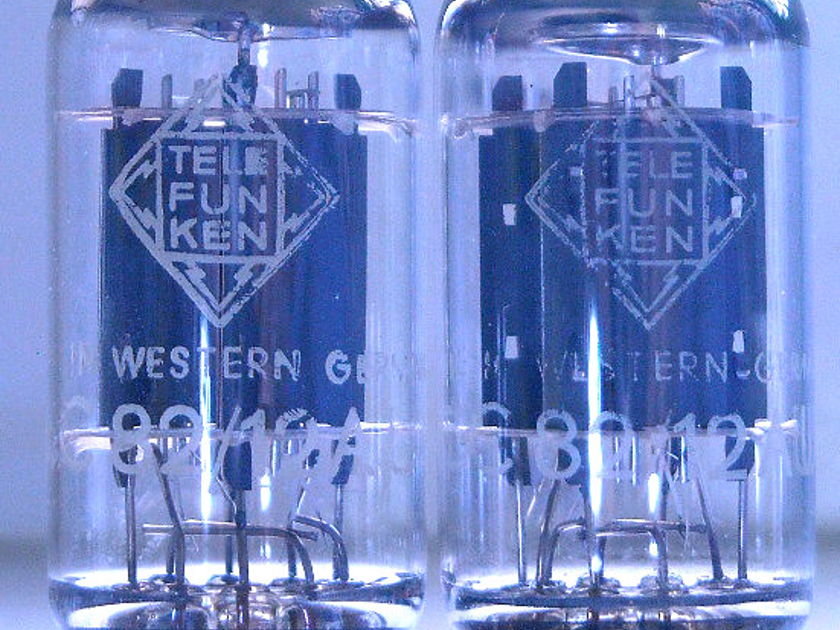 TELEFUNKEN ECC82 <> 12AU7 2 MATCHED PAIR RIB AND SMOOTH MINTY TEST NOS