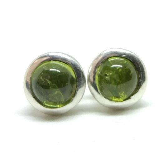 Серьги - гвоздики с хризолитом серебро 925