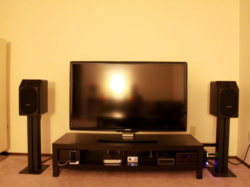 "B&W CDM1 SE (black) with STAV 24"" Stands"
