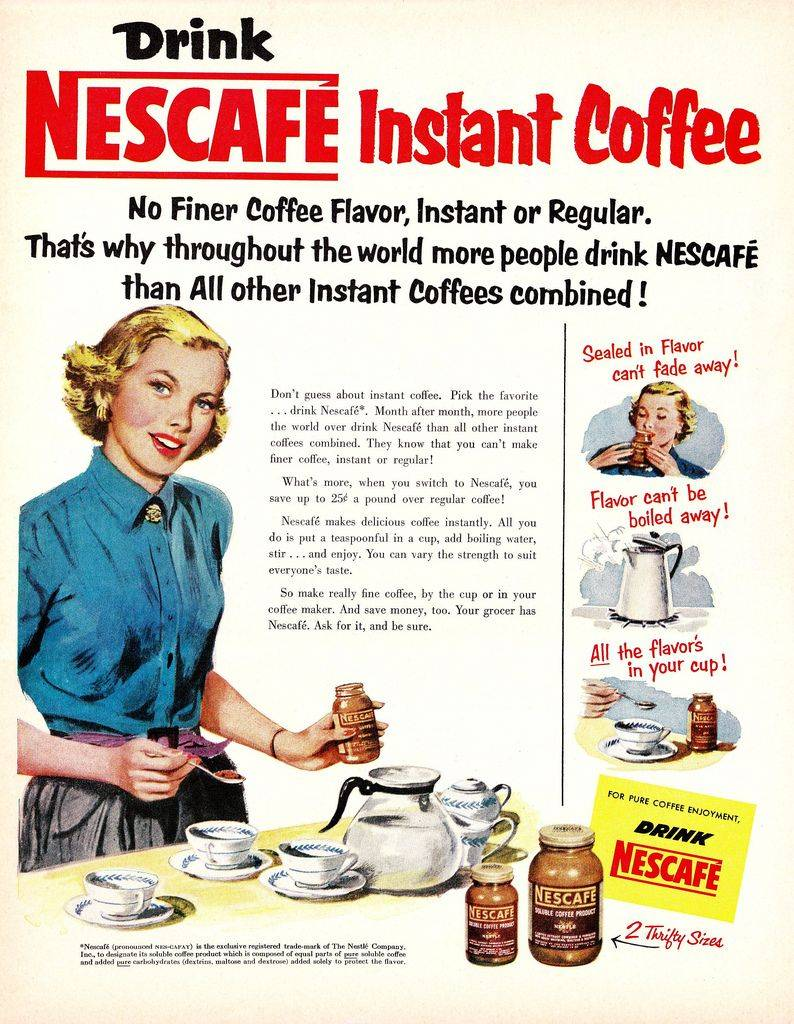 A vintage advertisement for Nescafe Instant Coffee, circa