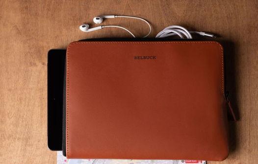 Чехол для планшета из натуральной кожи, модель Zipper Case. Brown