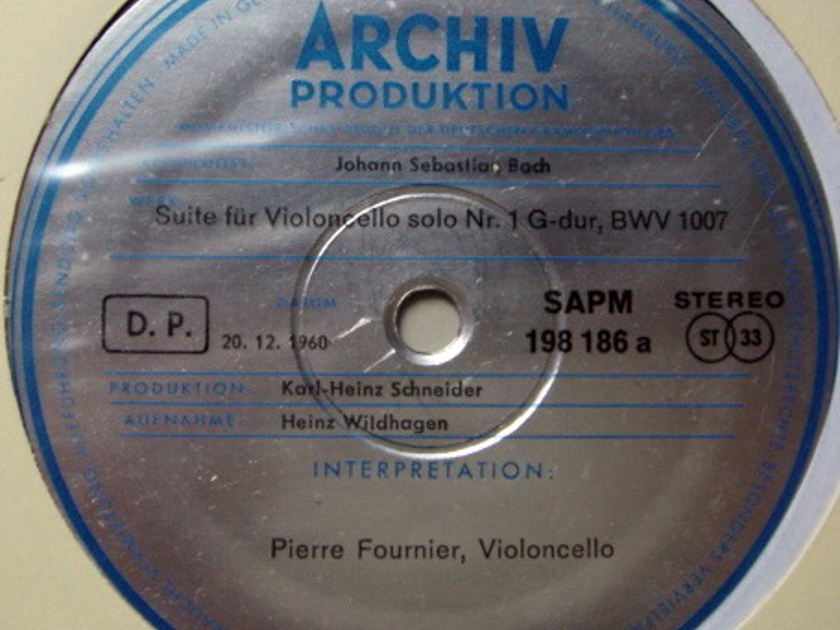 ★1st Press★ Archiv / FOURNIER, - Bach Suites for Cello Solo No.1 & 2, MINT!