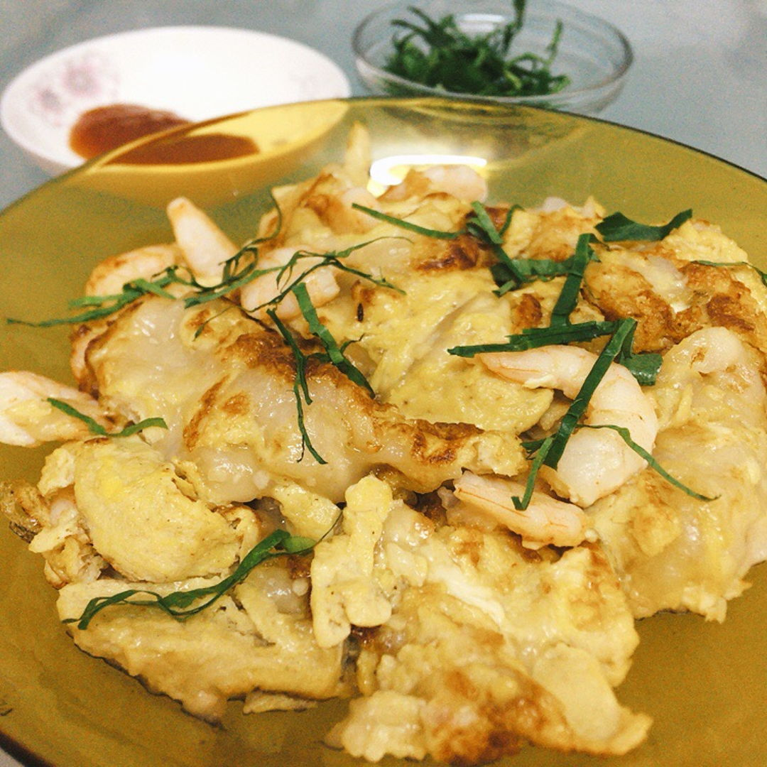 Prawn omelette instead of oyster.  (虾煎)