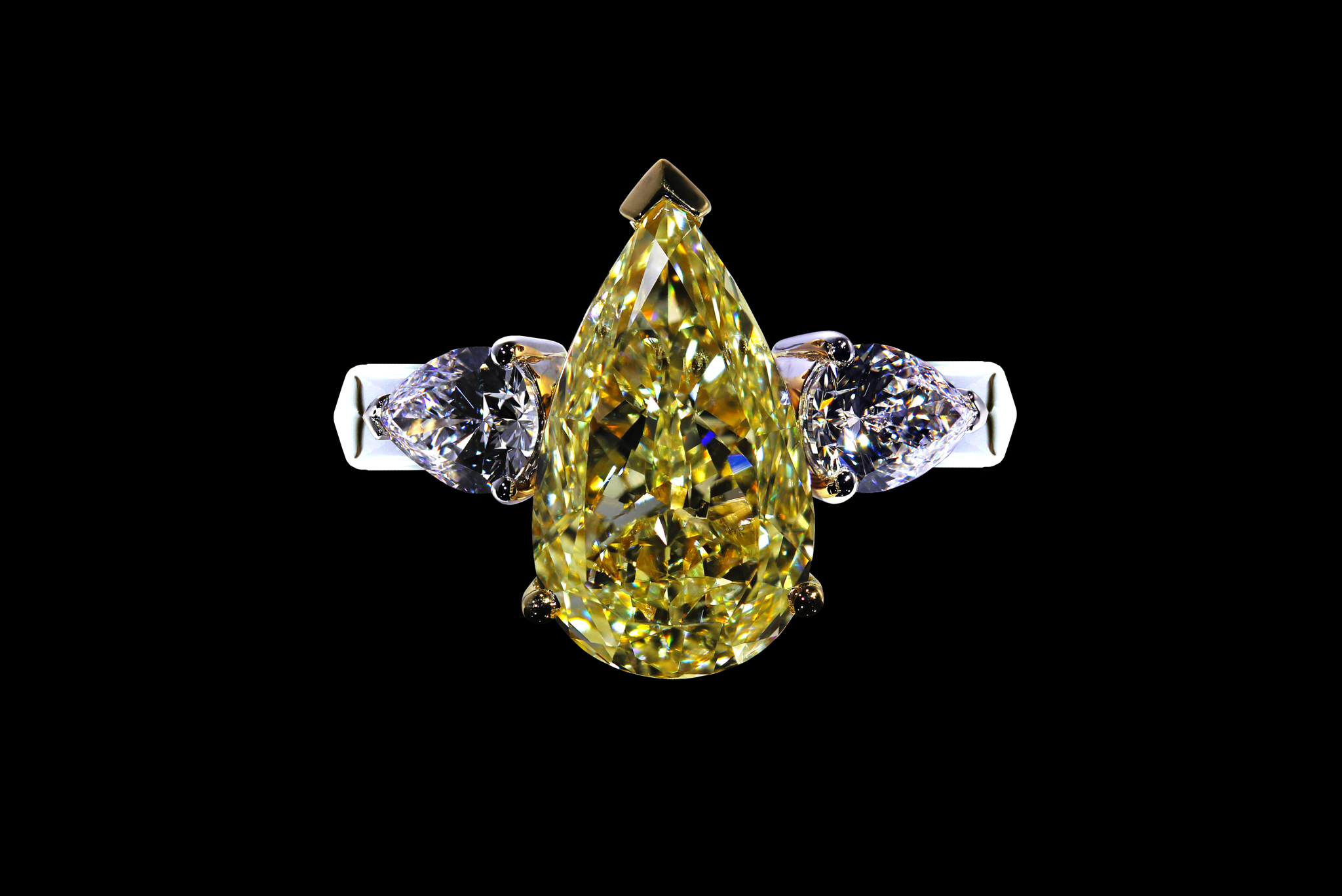 Fancy Intense Yellow Pear Shape Diamond Ring top view