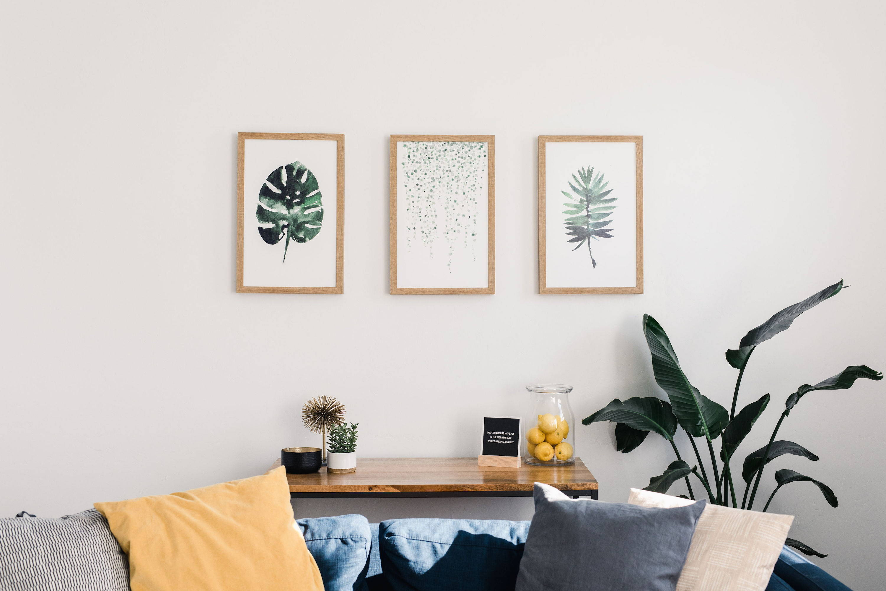 plant wall art hanging in a beautiful home