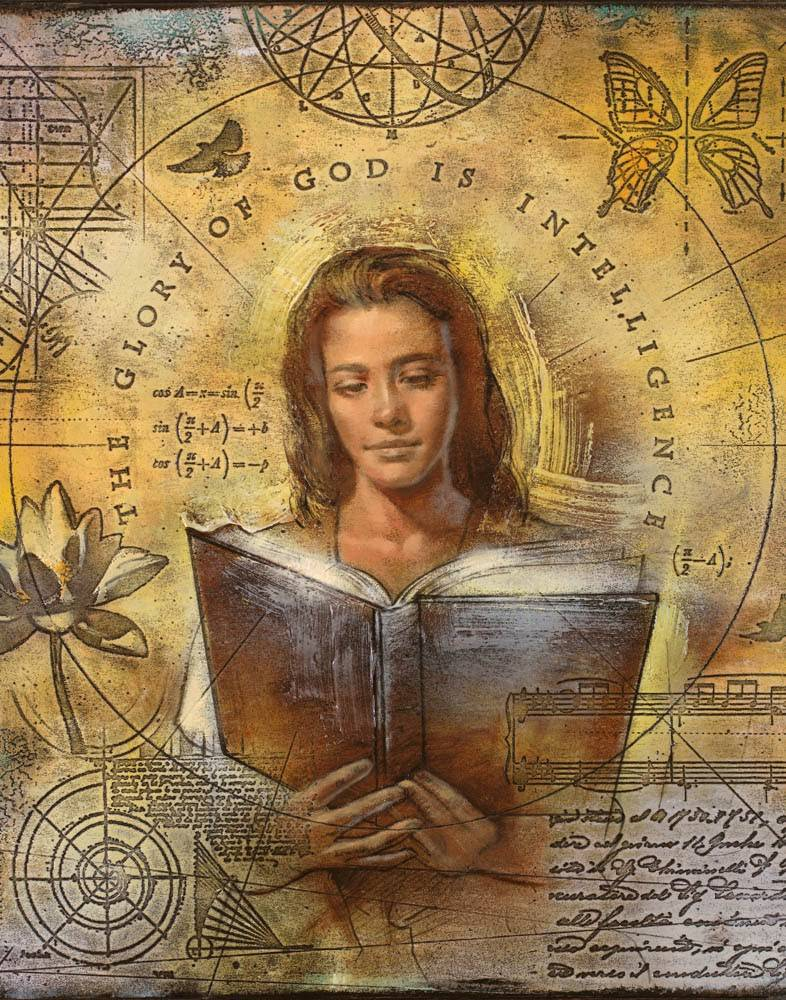A young woman is reading a book. She is surrounded by various math equations, diagrams, and cursive script.