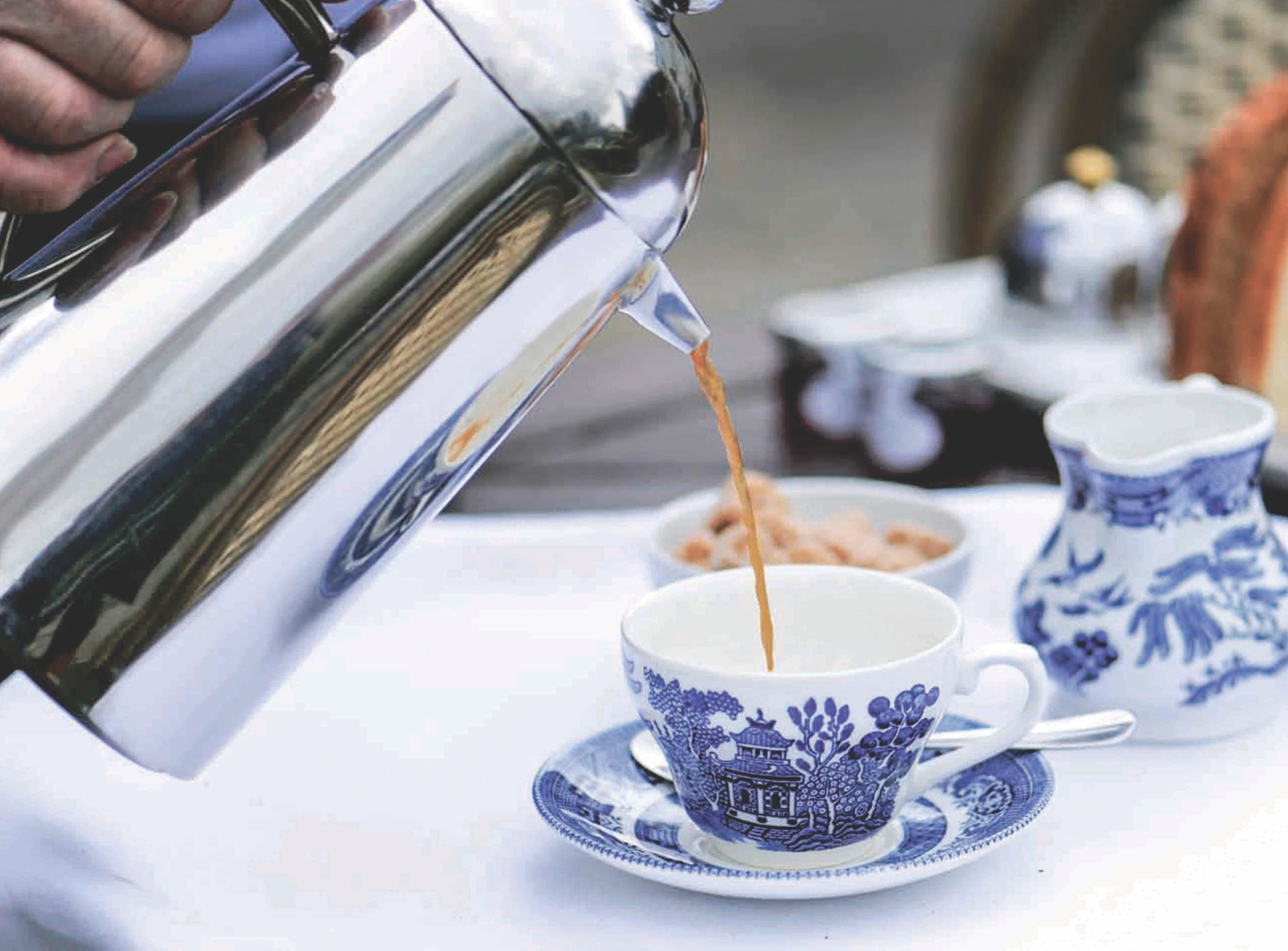 Coffee Pouring Blue Cups