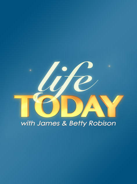 The Life Today logo, the words on a blue background