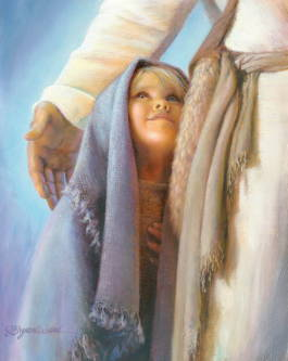 Painting of a child standing next to Jesus under His arm.