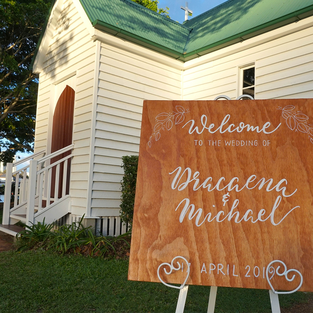 Tania Hearn timber wedding and event sign Brisbane Gold Coast