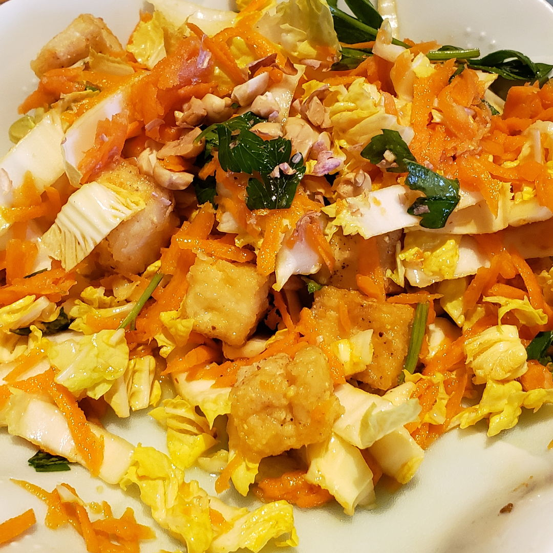 Asian salad With napa cabbage, crispy tofu