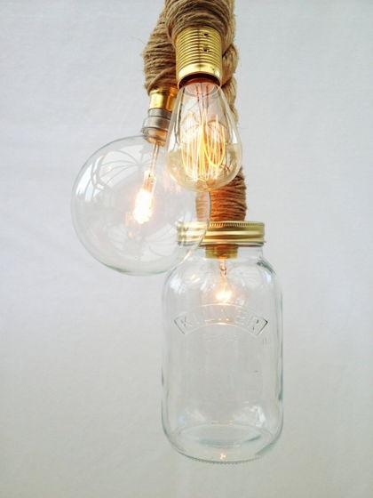Трио подвесные лампы с корабельным канатом