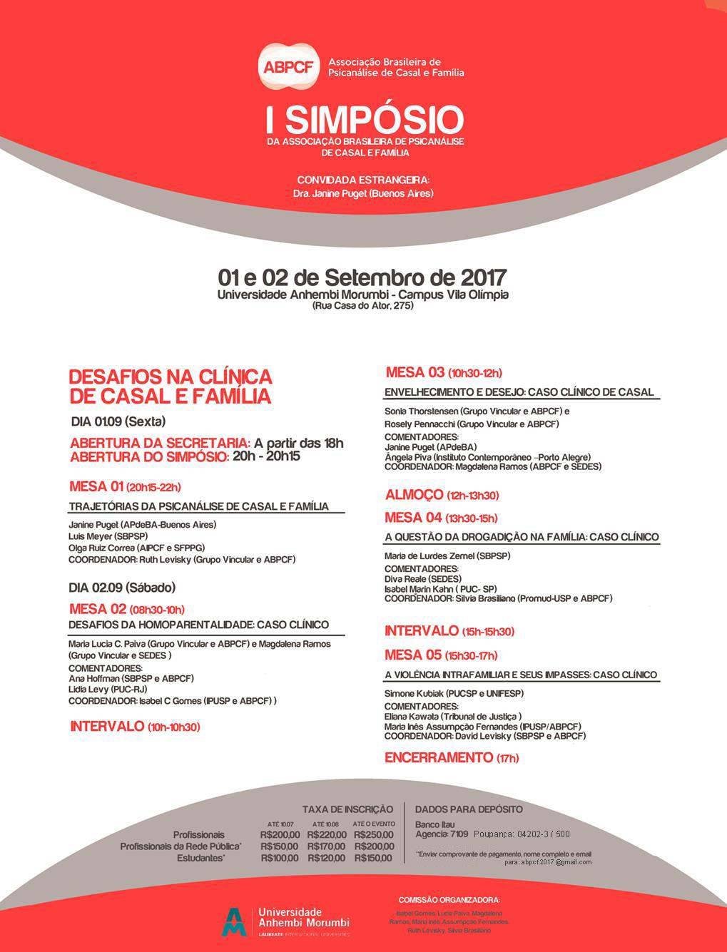 I SIMPÓSIO DA ASSOCIAÇÃO BRASILEIRA DE PSICANÁLISE DE CASAL E FAMÍLIA - Dias 1 e 2 de Setembro de 2017